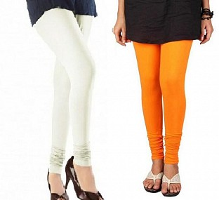 Cotton Off White and Orange Color Leggings Combo @ Rs407.00
