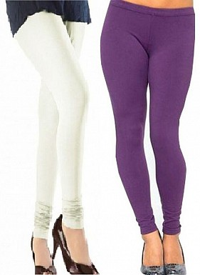 Cotton Off White and Purple Color Leggings Combo@ Rs.407.00