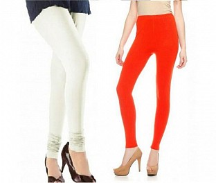 Cotton Off White and Dark Orange Color Leggings Combo @ Rs407.00