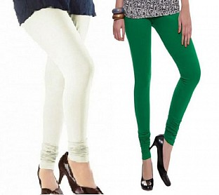 Cotton Off White and Dark Green Color Leggings Combo @ Rs407.00