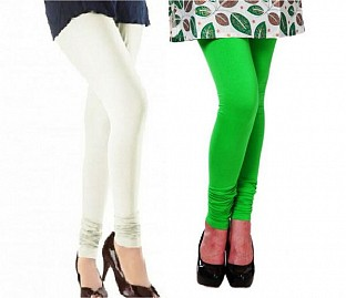 Cotton Off White and Light Green Color Leggings Combo@ Rs.407.00