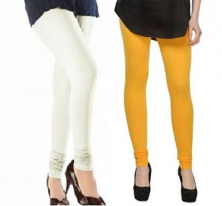 Cotton Off White and Yellow Color Leggings Combo @ Rs407.00