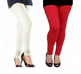 Cotton Off White and Red Color Leggings Combo @ Rs407.00