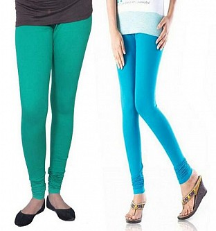 Cotton Rama Green and Sky Blue Color Leggings Combo @ Rs407.00