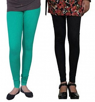 Cotton Rama Green and Black Color Leggings Combo @ Rs407.00