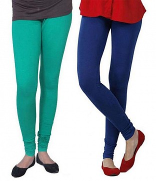 Cotton Rama Green and Royal Blue Color Leggings Combo Buy Rs.407.00