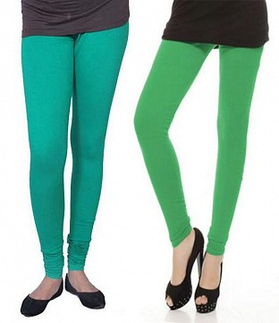 Cotton Rama Green and Green Color Leggings Combo@ Rs.407.00