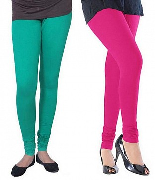 Cotton Rama Green and Pink Color Leggings Combo @ Rs407.00