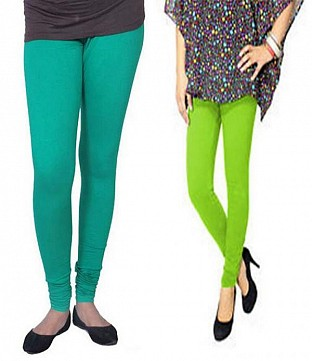 Cotton Rama Green and Parrot Green Color Leggings Combo @ Rs407.00
