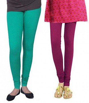 Cotton Rama Green and Dark Pink Color Leggings Combo@ Rs.407.00