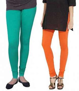 Cotton Rama Green and Orange Color Leggings Combo @ Rs407.00