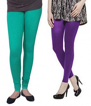 Cotton Rama Green and Purple Color Leggings Combo@ Rs.407.00