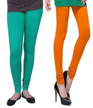 Cotton Rama Green and Dark Orange Color Leggings Combo@ Rs.407.00
