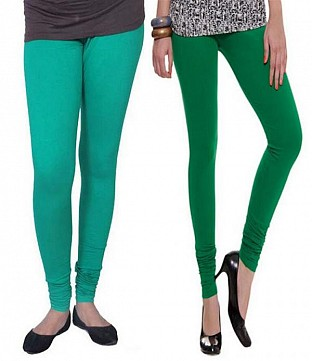 Cotton Rama Green and Dark Green Color Leggings Combo @ Rs407.00
