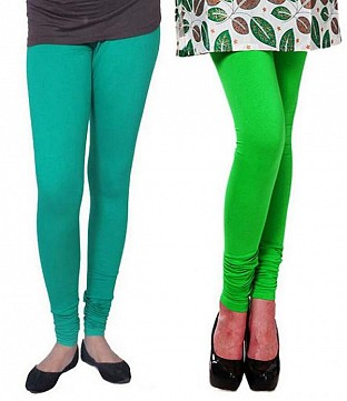 Cotton Rama Green and Light Green Color Leggings Combo@ Rs.407.00