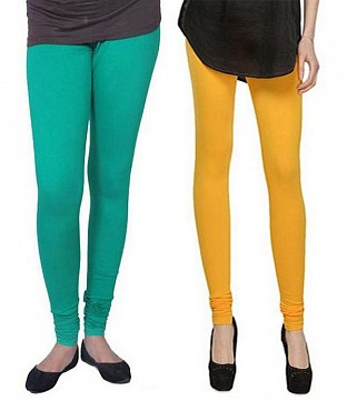 Cotton Rama Green and Yellow Color Leggings Combo @ Rs407.00
