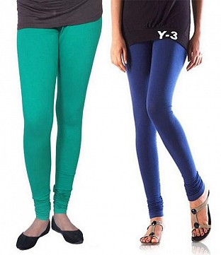 Cotton Rama Green and Blue Color Leggings Combo @ Rs407.00