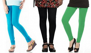 Cotton Sky Blue,Black and Green Color Leggings Combo @ Rs617.00