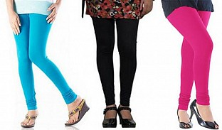 Cotton Sky Blue,Black and Pink Color Leggings Combo@ Rs.617.00