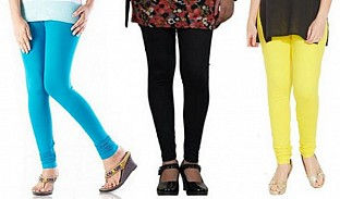 Cotton Sky Blue,Black and Light Yellow Color Leggings Combo @ Rs617.00