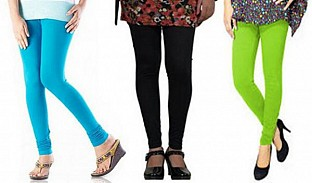 Cotton Sky Blue,Black and Parrot Green Color Leggings Combo@ Rs.617.00