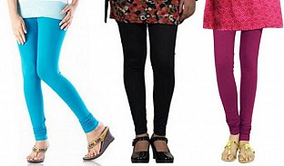Cotton Sky Blue,Black and Dark Pink Color Leggings Combo @ Rs617.00