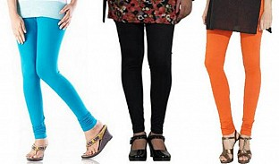Cotton Sky Blue,Black and Orange Color Leggings Combo @ Rs617.00