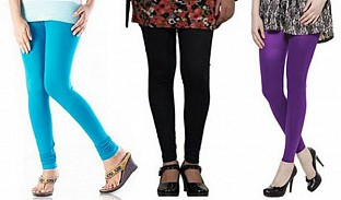 Cotton Sky Blue,Black and Purple Color Leggings Combo @ Rs617.00