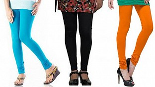Cotton Sky Blue,Black and Dark Orange Color Leggings Combo @ Rs617.00