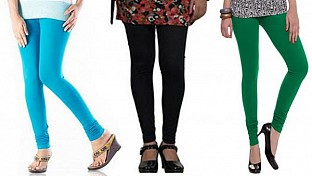 Cotton Sky Blue,Black and Dark Green Color Leggings Combo @ Rs617.00