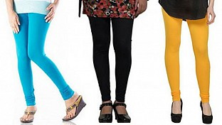 Cotton Sky Blue,Black and Yellow Color Leggings Combo@ Rs.617.00