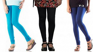 Cotton Sky Blue,Black and Blue Color Leggings Combo@ Rs.617.00