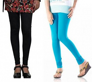 Cotton Sky Blue and Black Color Leggings Combo @ Rs407.00