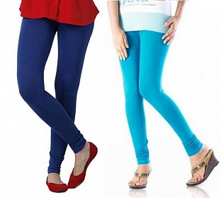 Cotton Sky Blue and Royal Blue Color Leggings Combo @ Rs407.00