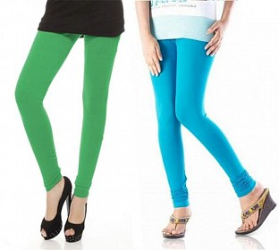 Cotton Sky Blue and Green Color Leggings Combo @ Rs407.00