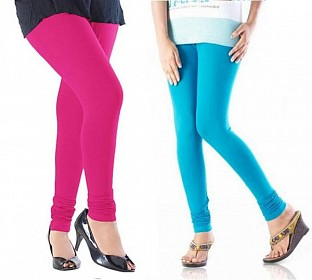 Cotton Sky Blue and Pink Color Leggings Combo @ Rs407.00