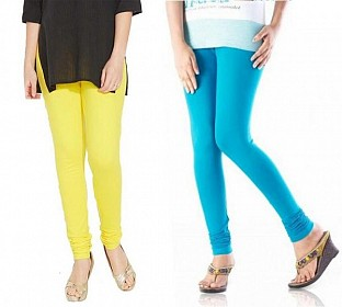 Cotton Sky Blue and Light Yellow Color Leggings Combo @ Rs407.00