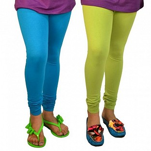Cotton Sky Blue and Parrot Green Color Leggings Combo @ Rs407.00
