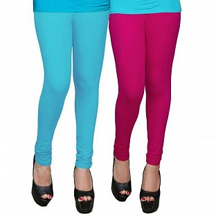 Cotton Sky Blue and Dark Pink Color Leggings Combo@ Rs.407.00