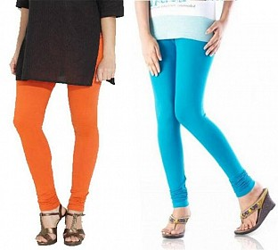 Cotton Sky Blue and Orange Color Leggings Combo @ Rs407.00