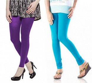 Cotton Sky Blue and Purple Color Leggings Combo @ Rs407.00