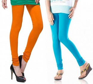 Cotton Sky Blue and Dark Orange Color Leggings Combo @ Rs407.00