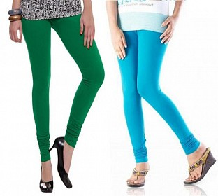 Cotton Sky Blue and Dark Green Color Leggings Combo @ Rs407.00