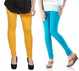 Cotton Sky Blue and Yellow Color Leggings Combo @ Rs407.00