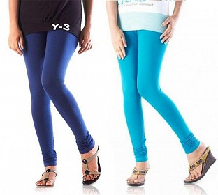 Cotton Sky Blue and Blue Color Leggings Combo @ Rs407.00