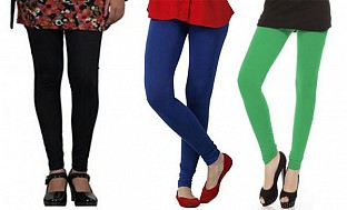 Cotton Black,Royal Blue and Green Color Leggings Combo @ Rs617.00