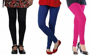 Cotton Black,Royal Blue and Pink Color Leggings Combo @ Rs617.00