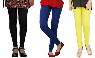 Cotton Black,Royal Blue and Light Yellow Color Leggings Combo @ Rs617.00