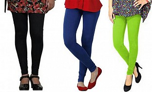Cotton Black,Royal Blue and Parrot Green Color Leggings Combo @ Rs617.00