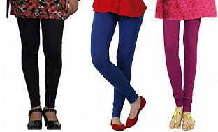 Cotton Black,Royal Blue and Dark Pink Color Leggings Combo @ Rs617.00